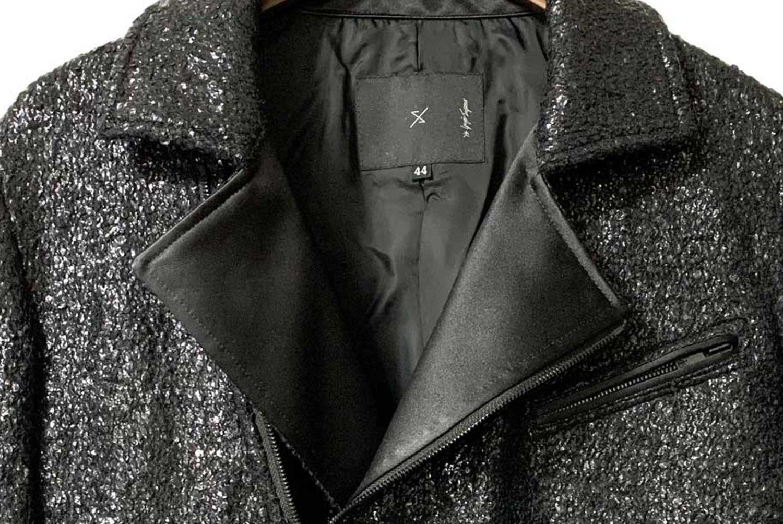 新作入荷 【ys Yuji SUGENO Black Foil Tweed Double Riders Jacket】